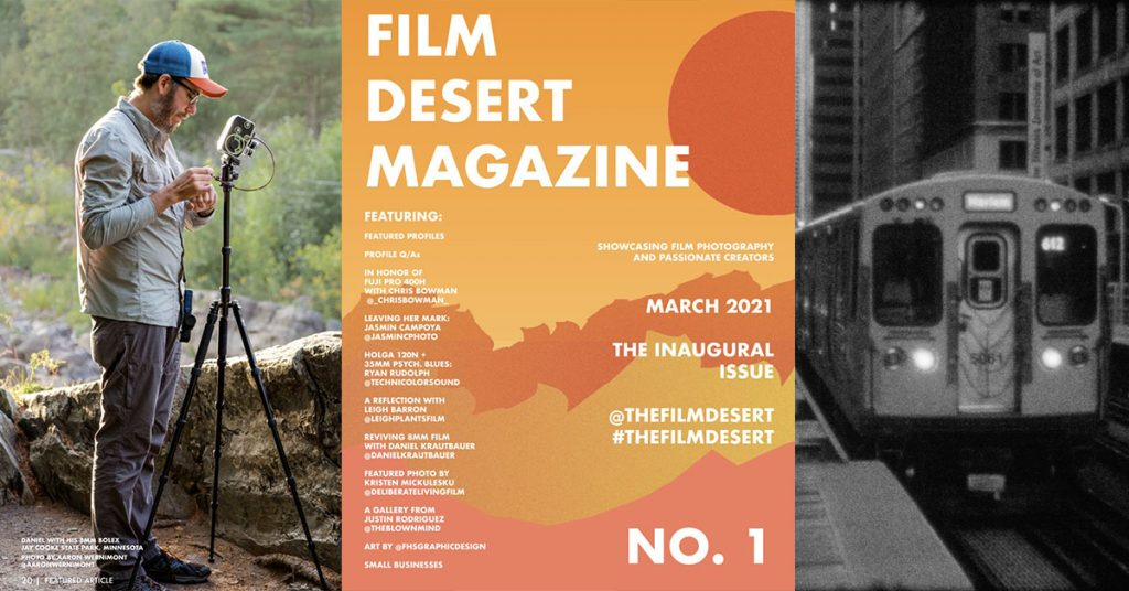 Photo of author operating an 8mm camera (left), Cover of Film Desert Magazine No. 1 (center), and an 8mm image of a subway train (right).